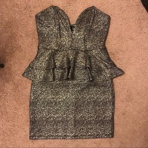 Gold/black peplum dress